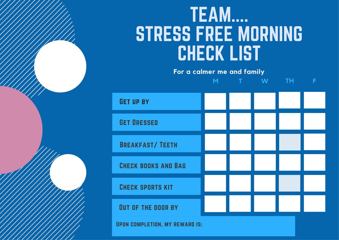 Stress free morning checklist free downlaod